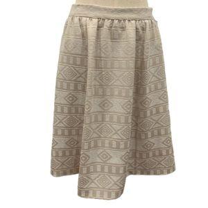 Halogen beige geometric print midi skirt